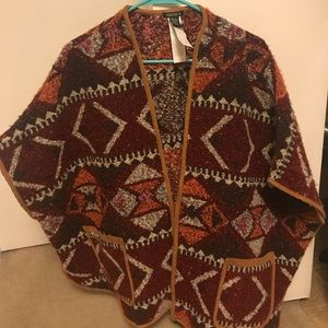 Jackets & Blazers - Woven Poncho with suede trim